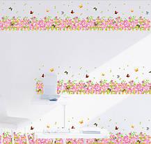 "Наклейка на стену, наклейка цветок, наклейки на шкаф ""цветы розовые с бабочками"" 1м32см длина, фото 2"