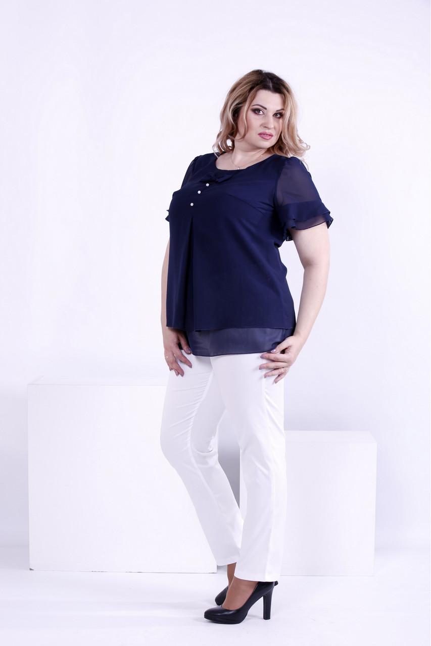 d7b1ba106baf Синяя шифоновая блузка для полных женщин 0866