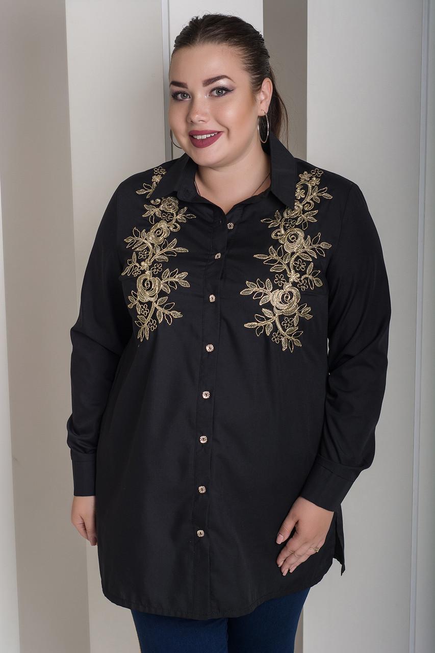 Черная красивая рубашка больших размеров Лолита