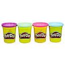 Плей-До набор пластилина из 4 банок по 112 гр. Фиолетовый, розовый, салатовый, голубой Play-Doh Bright Colors, фото 2