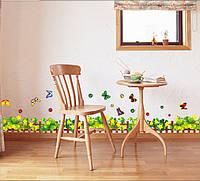 """Наклейка на стену, наклейка цветок, наклейки на шкаф """"Желтые цветы с бабочками"""""""