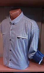 Мужская рубашка большого размера батал стрейч с длинным рукавом полупритал JEAN PIERE Одесса