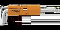 Ключи шестигранные длинные, шаровидные наконечники 2.5-10 мм, набор 8 шт., NEO 09-523