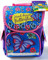 Школьный каркасный рюкзак для девочек бабочки butterfly сиреневый, фото 2