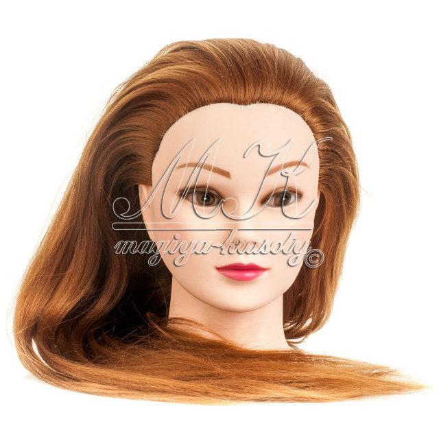 Учебная голова манекен для причесок 20% натуральных волос, цвет темное золото / болванка парикмахера