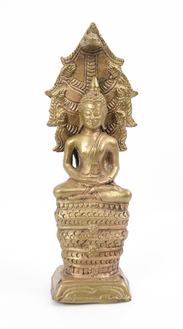 Старая бронзовая статуэтка, Будда под защитой нагов, бронза, латунь, 21 см