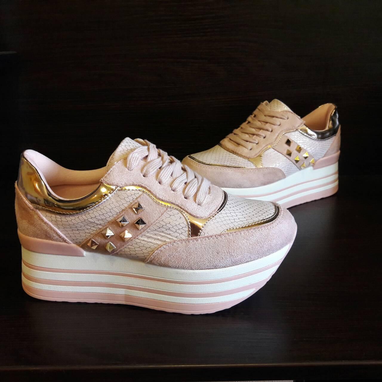 Женские розовые кроссовки на платформе цвет пудра р. 37 Польша - Irenka  Shoes в Полтаве 2b50beaa612