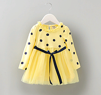 Платье Горошек фатином (желт) 80
