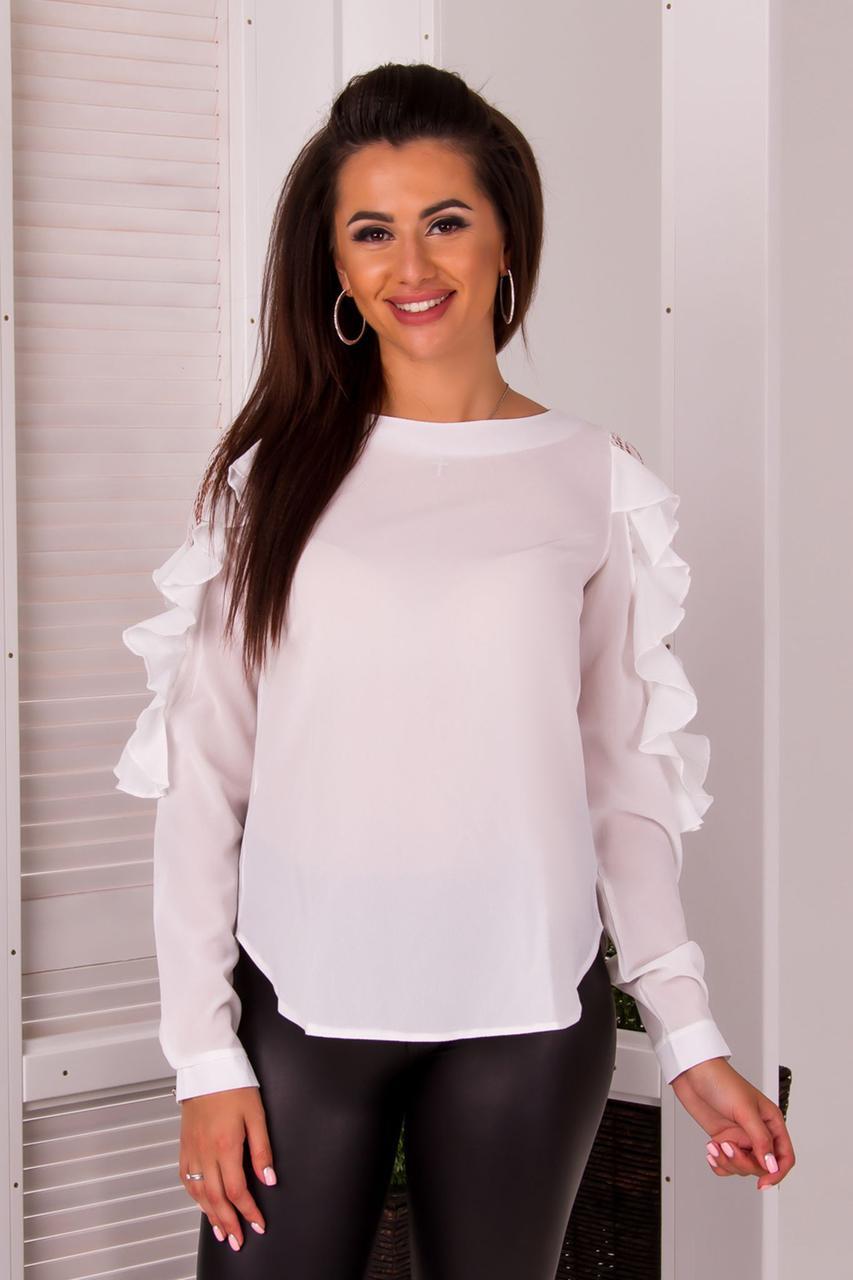"""Нарядная женская блуза """"POLER"""" с воланами и длинным рукавом (4 цвета)"""