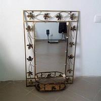 Кованное зеркало большое с полкой, фото 1