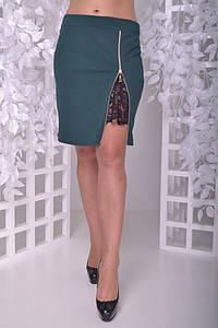 Стильная юбка большого размера с разрезом 50-60 р