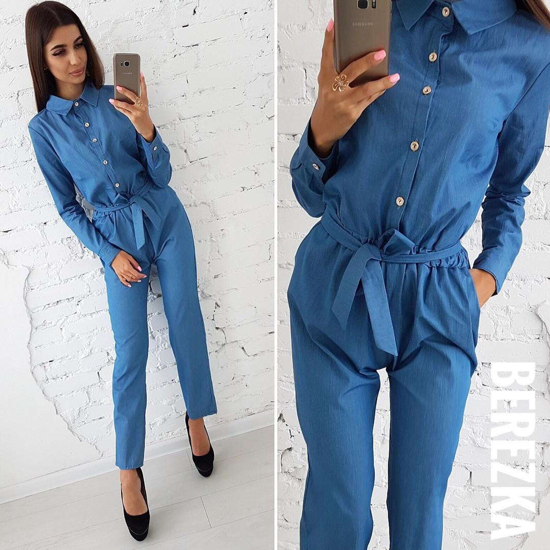 d198f17ca22 Комбинезон стильный джинсовый женский с длинным рукавом Db1128