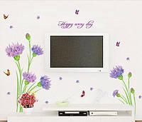 "Наклейка на стену, наклейки на шкаф ""Гвоздики наклейки 9цветков""  наклейки на окна на прозрачной основе"