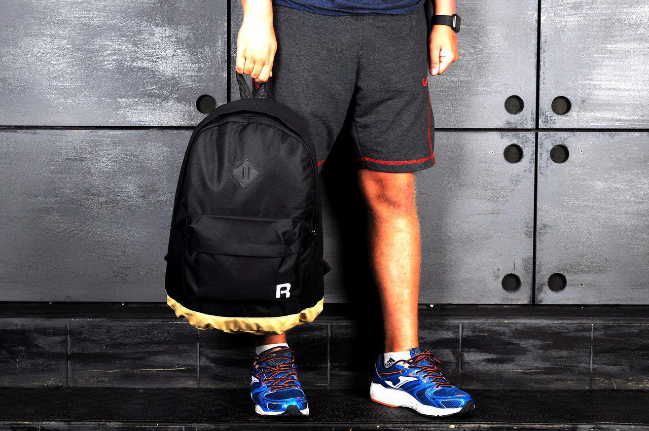 ce40b8e8154a Рюкзак портфель школьный Reebok Рибок чёрно-бежевый с кожаным дном - Big  Family в Киеве