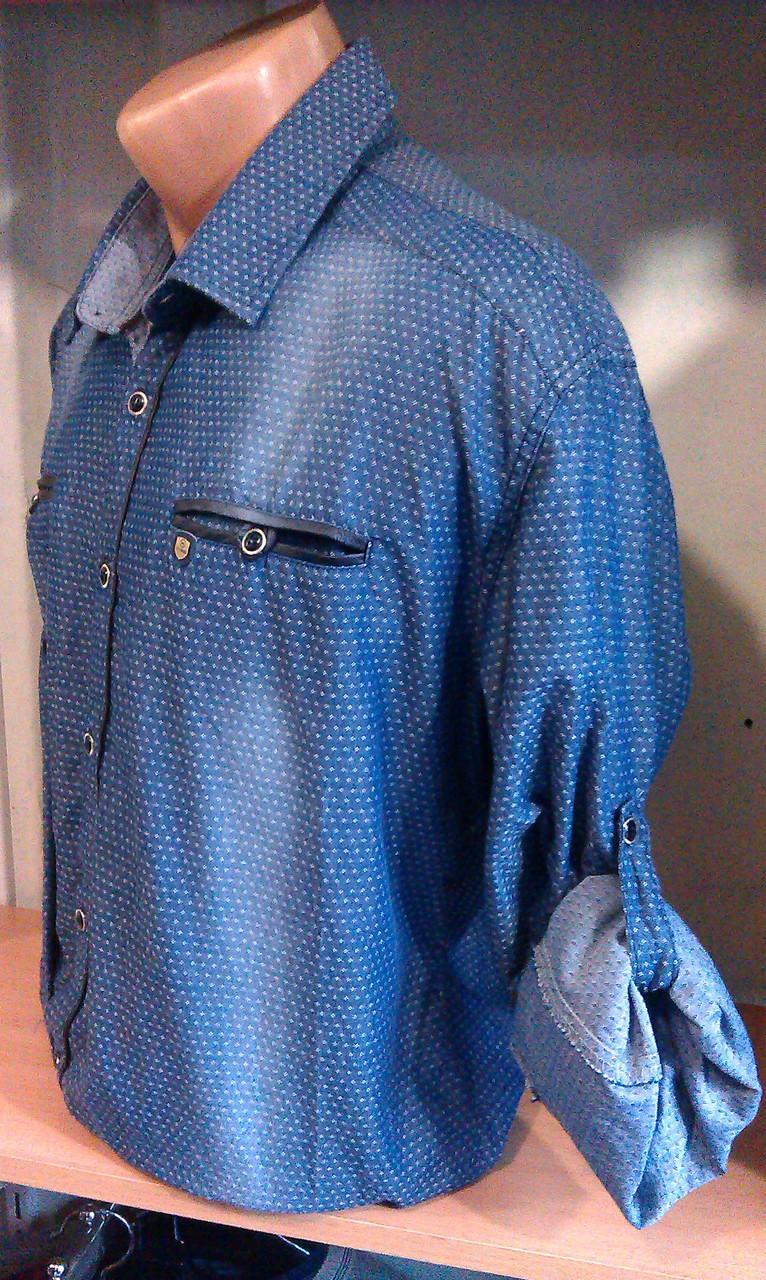 33c7f77a1d9 Стильная Мужская рубашка SELFWORK с длинным рукавом +3 4 приталенная Одесса