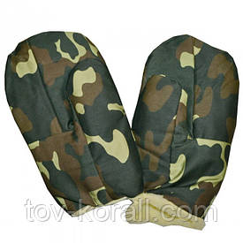 Армейские камуфлированные рукавицы на меху.