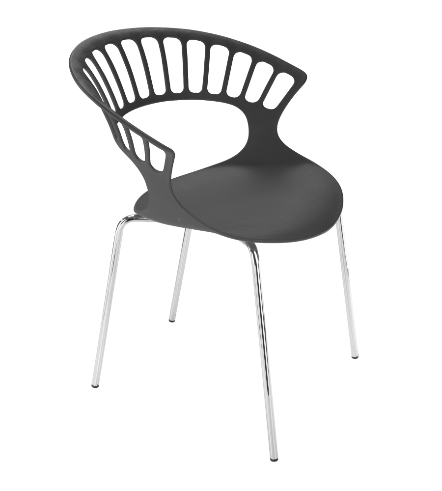 Кресло Papatya Tiara белый, антрацит база катафорез