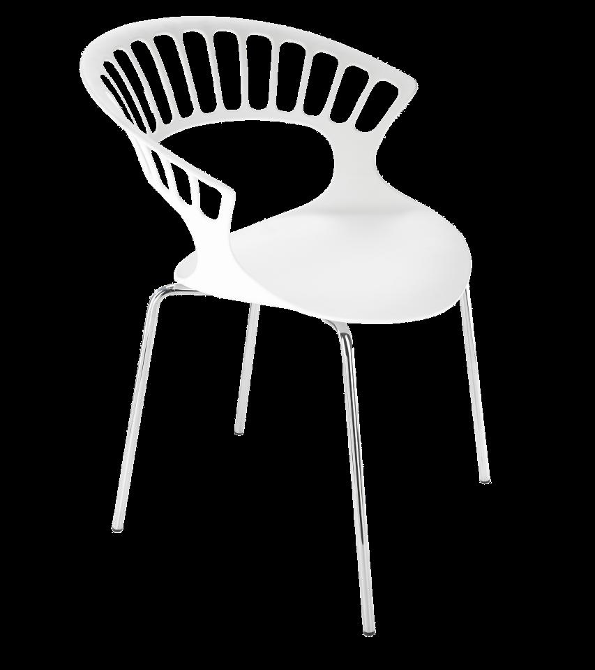 Крісло Papatya Tiara білий, база хром