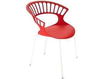 Кресло Papatya Tiara красный, база катафорез белый