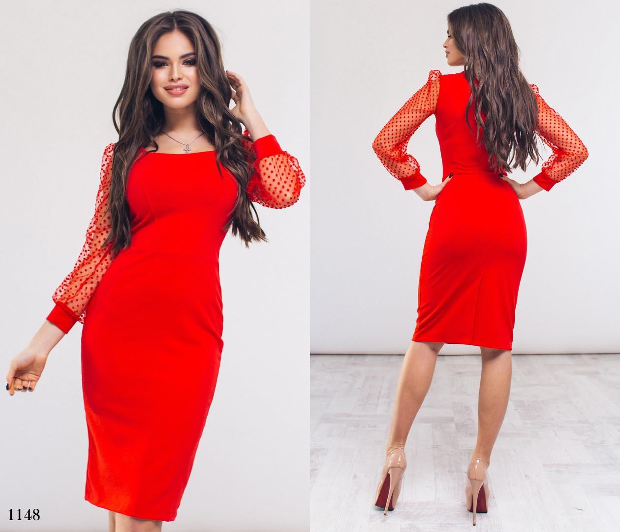 6477e302e4d Платье вечернее облегающее длинный рукав сетка флок горошек креп-дайвинг  42