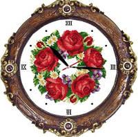 Часы. Розы G067 Набор для вышивания крестом с печатью на ткани 11ст
