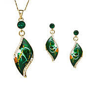 Женский позолоченный ювелирный набор украшений из эмали