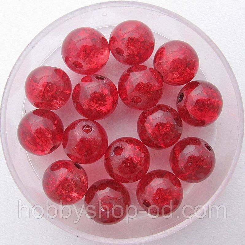 """Бусины """"Crackle"""" колотый лед 8 мм красные (примерно 100-110 шт бусин)"""