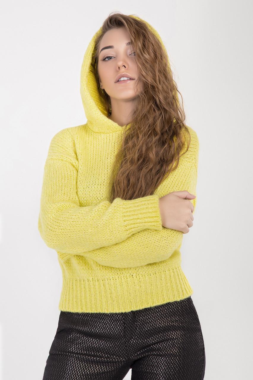 Модная женская кофта с капюшоном лимонного цвета