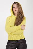 Модная женская кофта с капюшоном лимонного цвета, фото 1