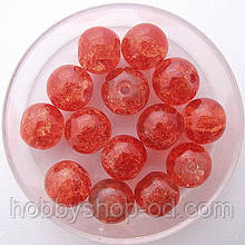 "Бусины ""Crackle"" колотый лед 8 мм морковный (примерно 100-110 шт бусин)"