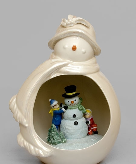 Порцеляновий Новорічний Сніговик світильник