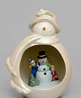 Порцеляновий Новорічний Сніговик світильник, фото 1