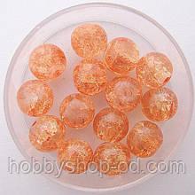 """Бусины """"Crackle"""" колотый лед 8 мм оранжевый (примерно 100-110 шт бусин)"""