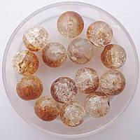 """Бусины """"Crackle"""" колотый лед 8 мм св. коричневый с белым (примерно 100-110 шт бусин)"""