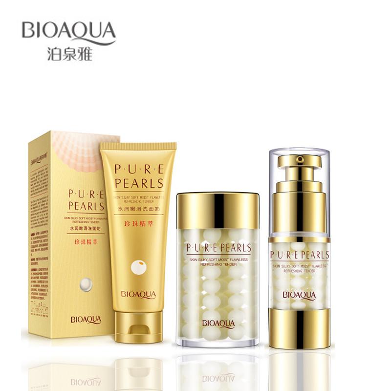 Антивозрастной набор с натуральной жемчужной пудрой BioAqua Pure Pearls