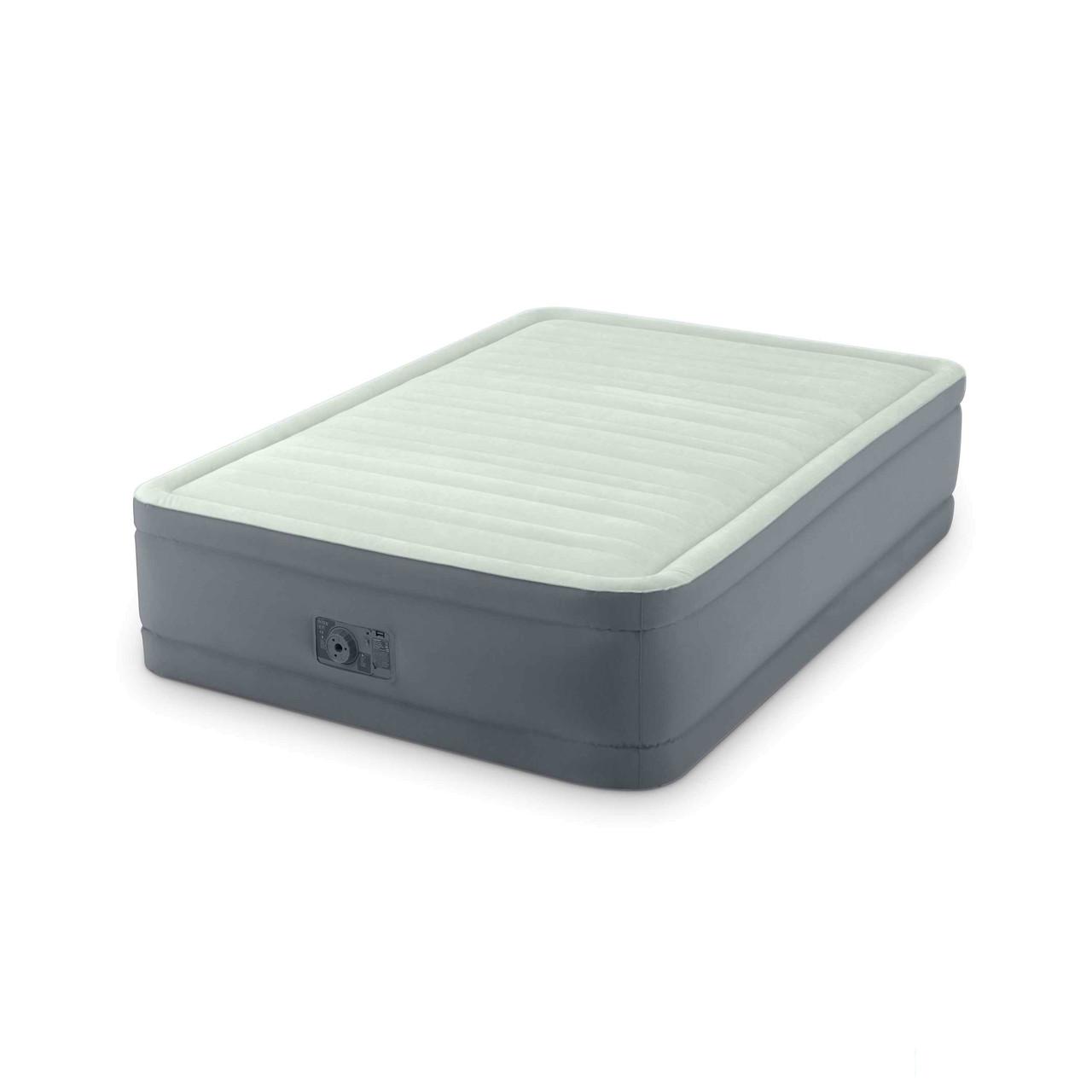 Двухспальная надувная флокированная кровать Intex 64904 со встроенным насосом 220V (191*137*46 см)