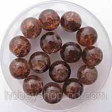 """Бусины """"Crackle"""" колотый лед 8 мм коричневый (примерно 100-110 шт бусин)"""