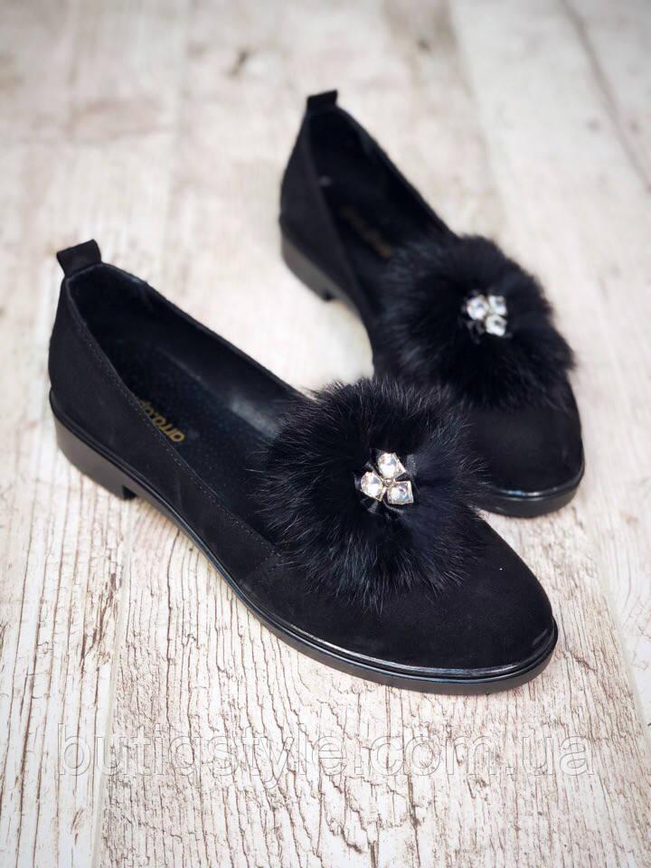 39, 40 размер! Женские модные черные туфли натуральный замш с мехом кролика