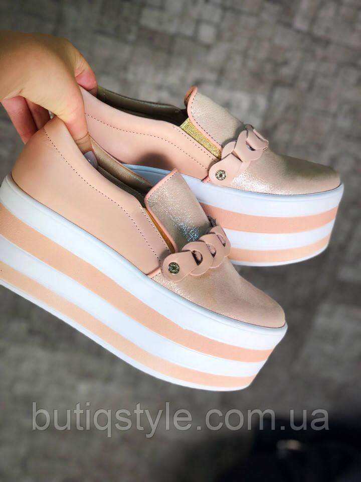 37, 39, 40 размер! Туфли женские пудра на платформе натуральная кожа