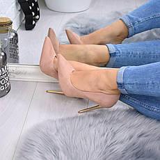 """Туфли женские на каблуке пудровые """"Nensic"""" эко замша, повседневная, удобная, женская обувь, фото 2"""