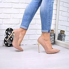 """Туфли женские на каблуке пудровые """"Nensic"""" эко замша, повседневная, удобная, женская обувь, фото 3"""