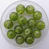 """Бусины """"Crackle"""" колотый лед 8 мм зеленый авокадо (примерно 100-110 шт бусин)"""
