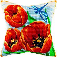 V-63 Красные тюльпаны. Подушка. Чарівниця. Набор для вышивания нитками на канве с нанесенным рисунком