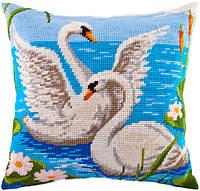 V-65 Лебеди. Подушка. Чарівниця. Набор для вышивания нитками на канве с нанесенным рисунком