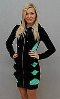Халат велюровый бантики чёрный, фото 1
