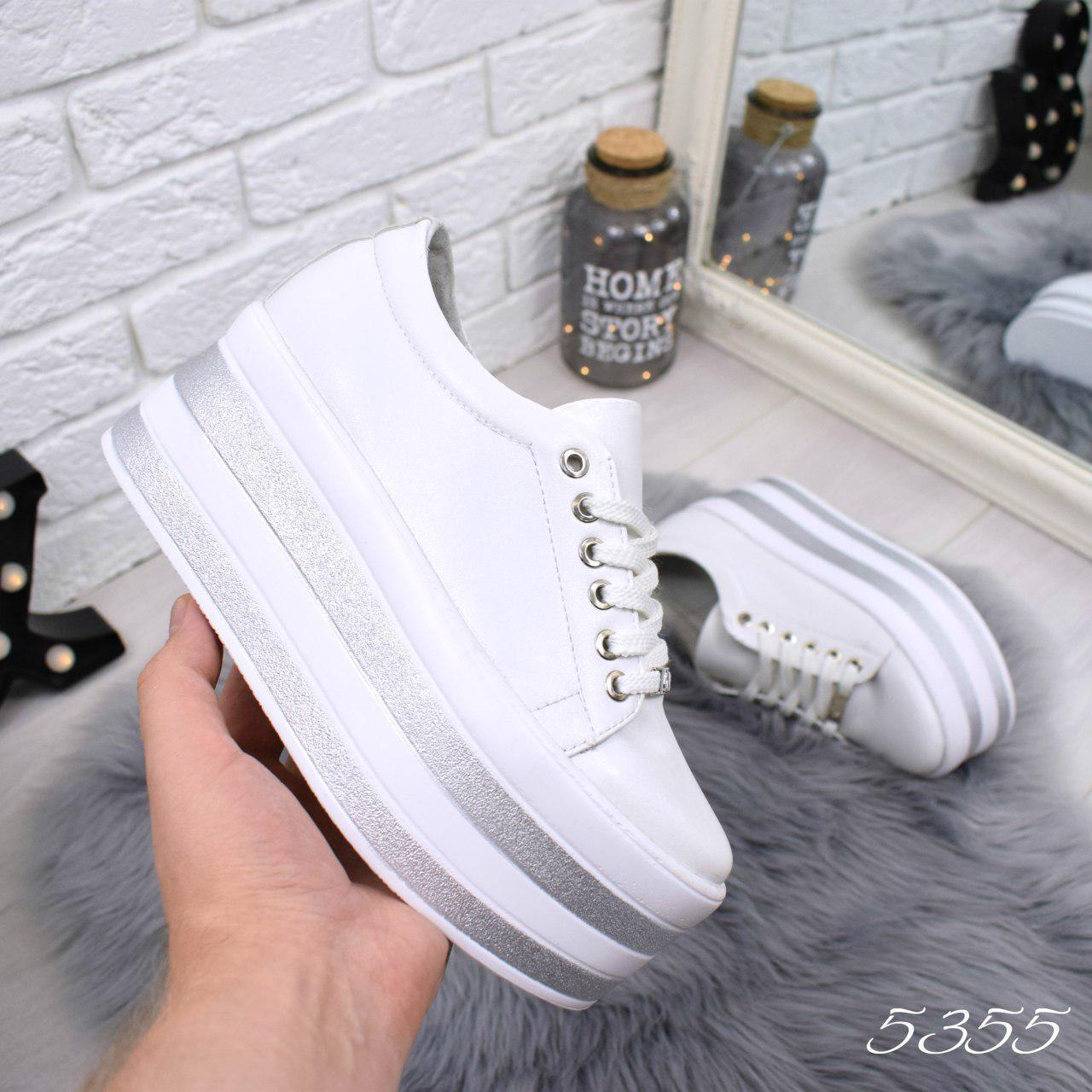 """Туфли женские на платформе белые """"Why Not"""" НАТУРАЛЬНАЯ КОЖА, повседневная, удобная обувь"""