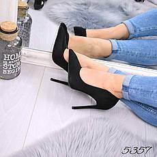"""Туфли женские на каблуке черные """"M&M's"""" эко замша, повседневная, удобная, женская обувь, фото 3"""