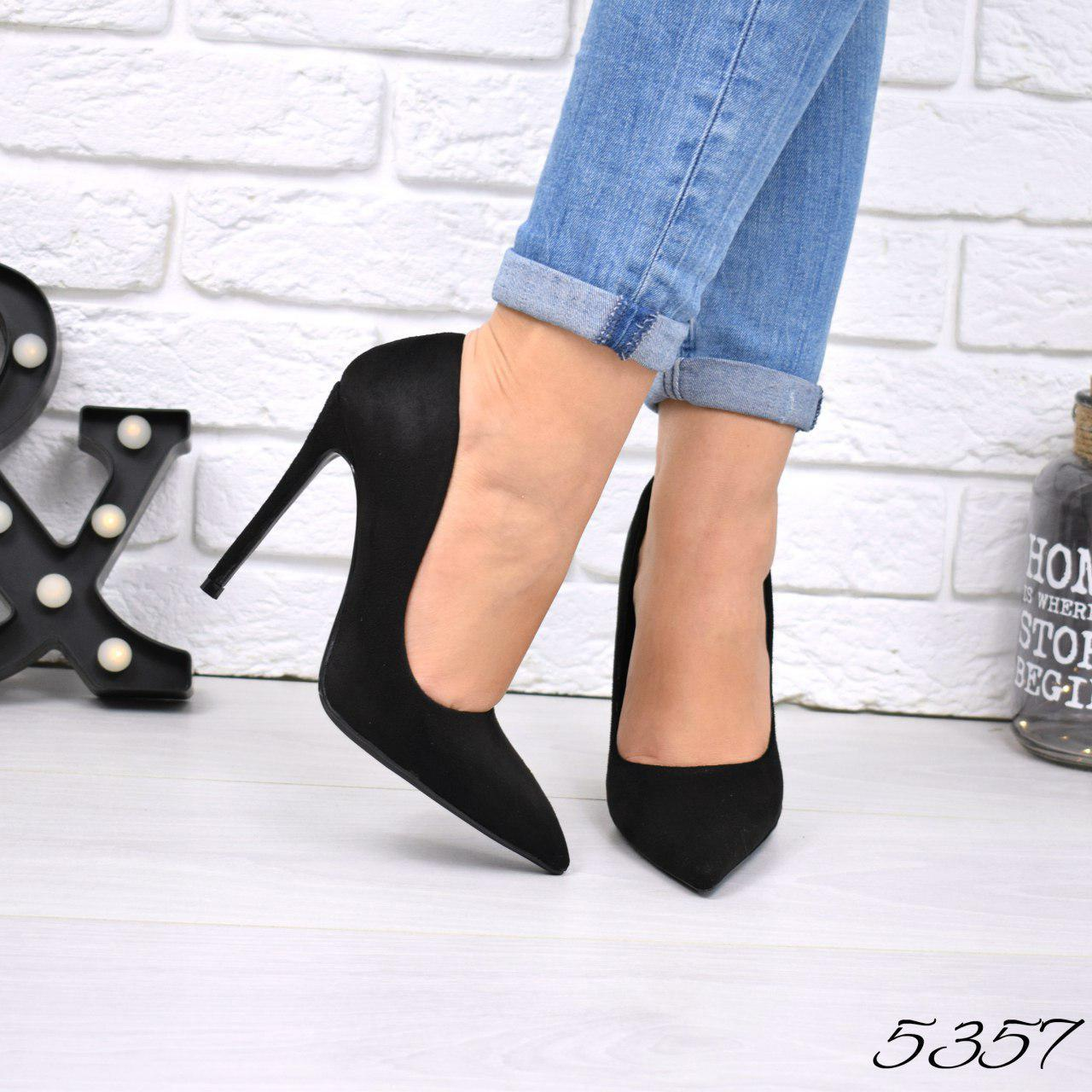 """Туфли женские на каблуке черные """"M&M's"""" эко замша, повседневная, удобная, женская обувь"""