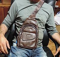 Сумка слинг бананка. Мужская сумка - городской рюкзак. Кожаная сумка через плечо Светло-коричневая