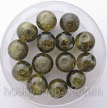 """Бусины """"Crackle"""" колотый лед 8 мм зеленый защитный (примерно 100-110 шт бусин)"""